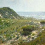 plein air painting demo of beach dunes at Camp Lejeune by North Carolina artist Jeremy Sams
