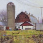 plein air painting of farm cold day by North Carolina artist Jeremy Sams